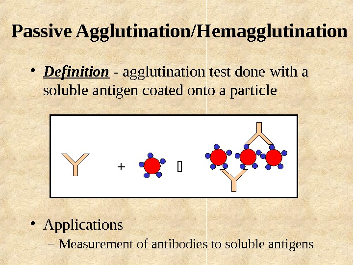 Passive Agglutination/Hemagglutination • Definition - agglutination test done with a soluble antigen coated onto
