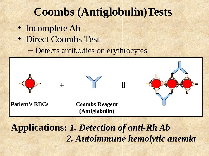 Coombs (Antiglobulin)Tests  • Incomplete Ab • Direct Coombs Test –  Detects antibodies