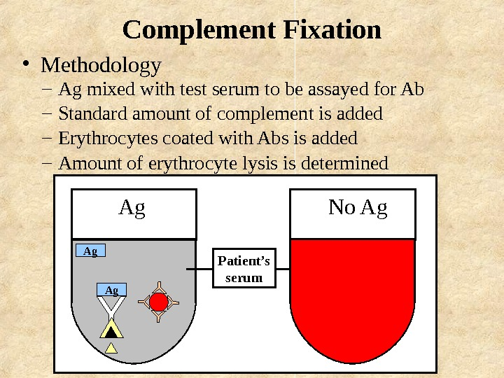 Complement Fixation – Ag mixed with test serum to be assayed for Ab –