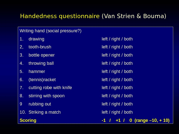 Handedness questionnaire  (Van Strien & Bouma) Writing hand (social pressure? ) 1. drawing