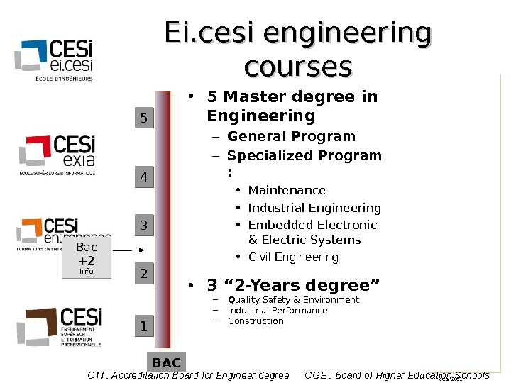 cesi 2011 Ei. cesi engineering courses • 5 Master degree in Engineering – General Program –