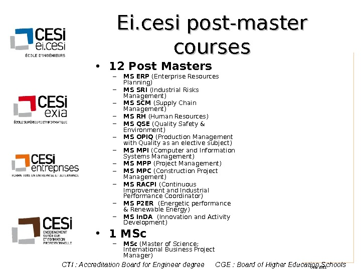 cesi 2011 Ei. cesi post-master courses • 12 Post Masters – MS ERP (Enterprise Resources Planning)