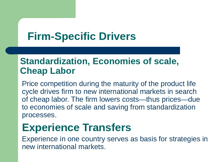 Price competition during the maturity of the product life cycle drives firm to new