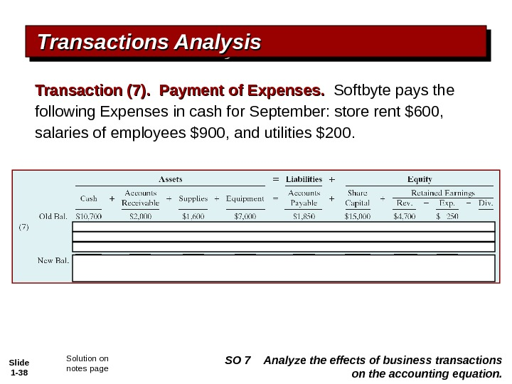 Slide 1 - 38 Transactions Analysis Transaction (7).  Payment of Expenses.  Softbyte pays the