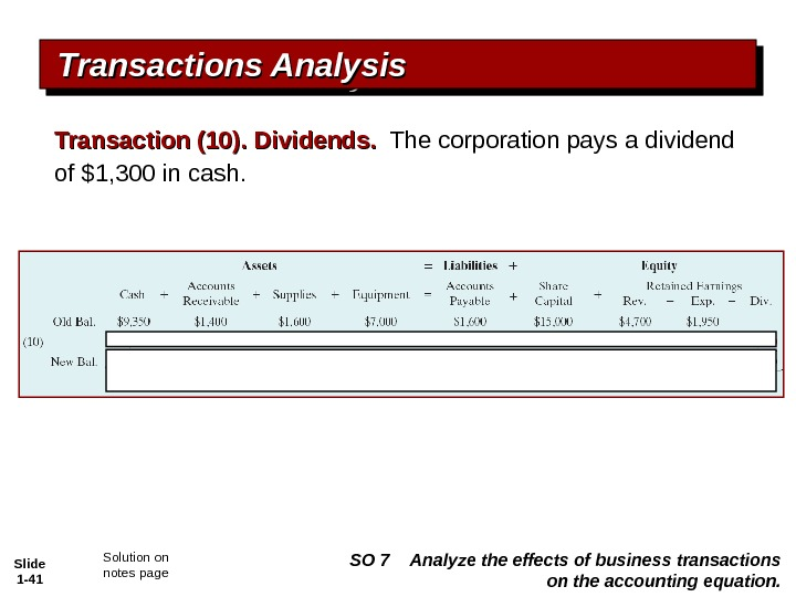 Slide 1 - 41 Transactions Analysis Transaction (10). Dividends.  The corporation pays a dividend of