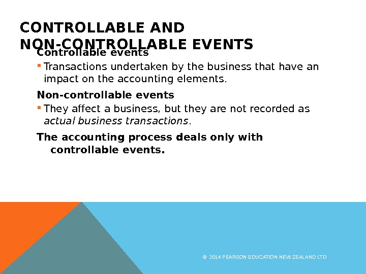 CONTROLLABLE AND NON-CONTROLLABLE EVENTS Controllable events Transactions undertaken by the business that have an impact on