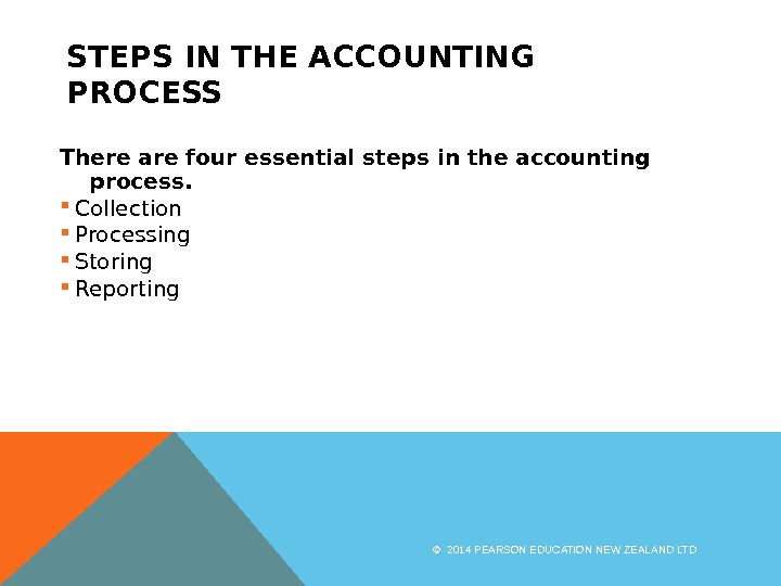 STEPS IN THE ACCOUNTING PROCESS There are four essential steps in the accounting process.  Collection