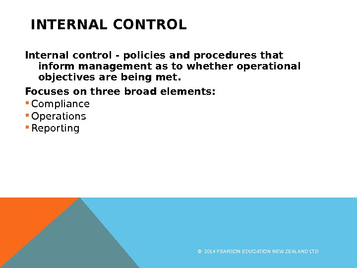 INTERNAL CONTROL Internal control - policies and procedures that inform management as to whether operational objectives