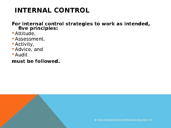 INTERNAL CONTROL For internal control strategies to work as intended,  five principles:  Attitude,