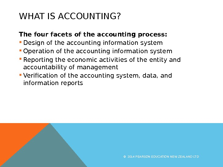 WHAT IS ACCOUNTING? The four facets of the accounting process:  Design of the accounting information