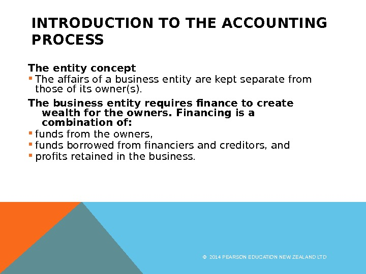 INTRODUCTION TO THE ACCOUNTING PROCESS The entity concept The affairs of a business entity are kept