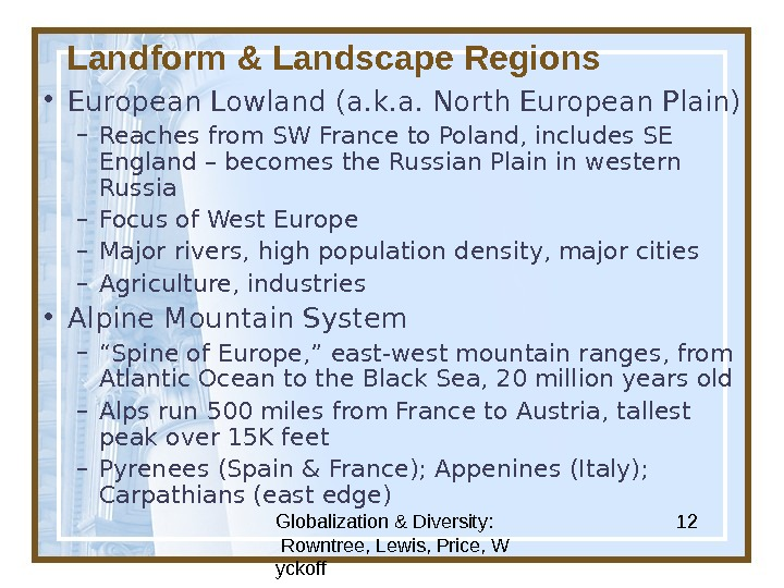 Globalization & Diversity:  Rowntree, Lewis, Price, W yckoff 12 Landform & Landscape Regions • European