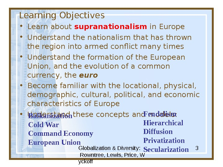 Globalization & Diversity:  Rowntree, Lewis, Price, W yckoff 3 Learning Objectives • Learn about supranationalism