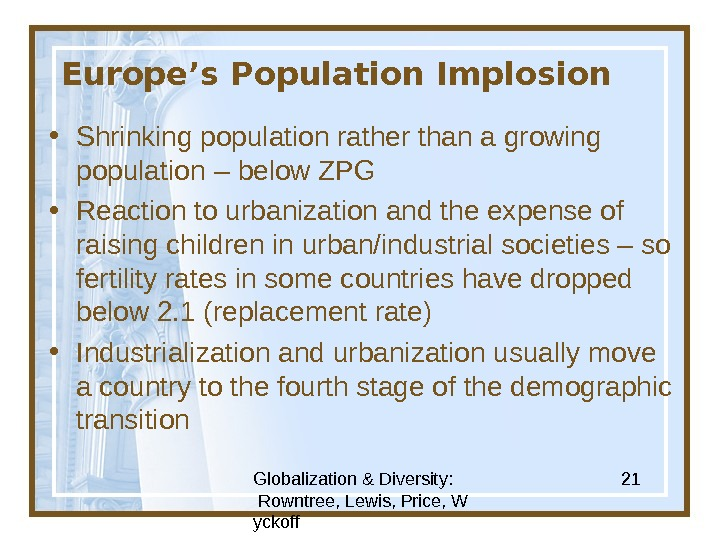 Globalization & Diversity:  Rowntree, Lewis, Price, W yckoff 21 Europe's Population Implosion • Shrinking population