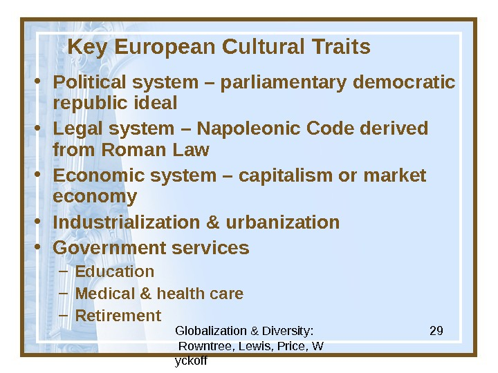 Globalization & Diversity:  Rowntree, Lewis, Price, W yckoff 29 Key European Cultural Traits • Political