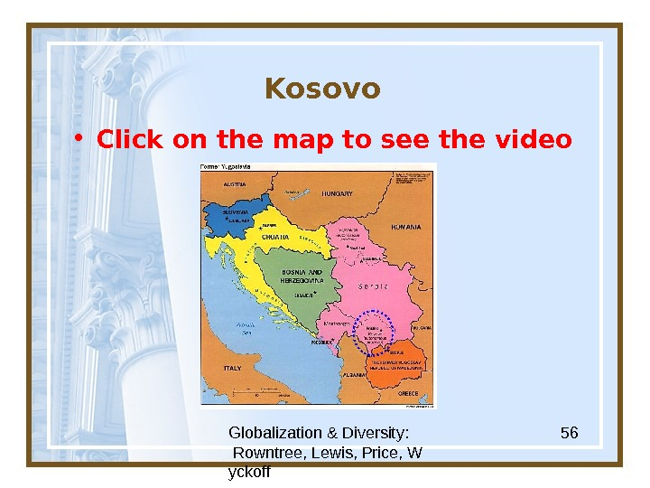 Globalization & Diversity:  Rowntree, Lewis, Price, W yckoff 56 Kosovo • Click on the map