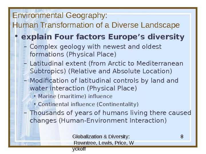 Globalization & Diversity:  Rowntree, Lewis, Price, W yckoff 8 Environmental Geography: Human Transformation of a