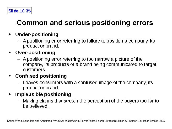 Slide 10. 35 Common and serious positioning errors  • Under-positioning – A positioning error referring
