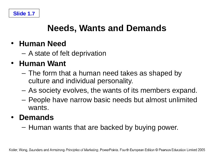 Slide 1. 7 Needs, Wants and Demands • Human Need  – A state of felt