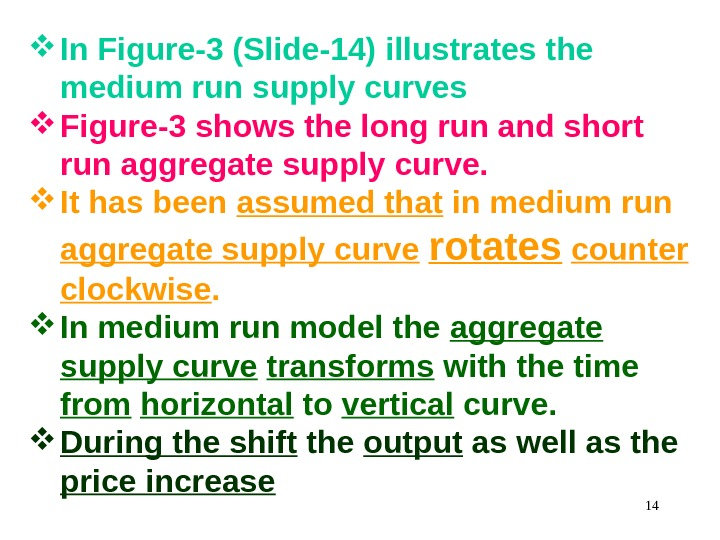 In Figure-3 (Slide-14) illustrates the medium run supply curves Figure-3 shows the long run and