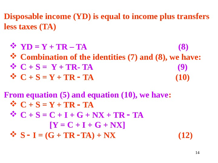 14 Disposable income (YD) is equal to income plus transfers less taxes (TA) YD = Y
