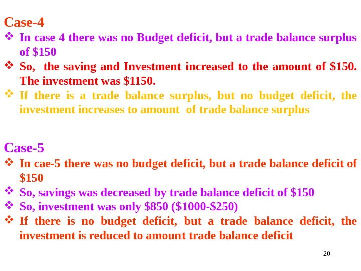 20 Case-4 In case 4 there was no Budget deficit, but a trade balance surplus of