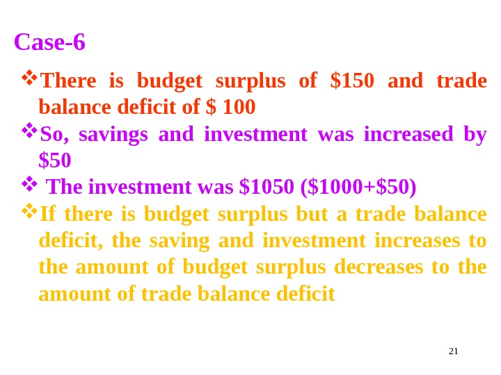 21 Case-6 There is budget surplus of $150 and trade balance deficit of $ 100