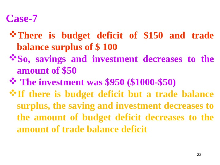 22 Case-7 There is budget deficit of $150 and trade balance surplus of $ 100
