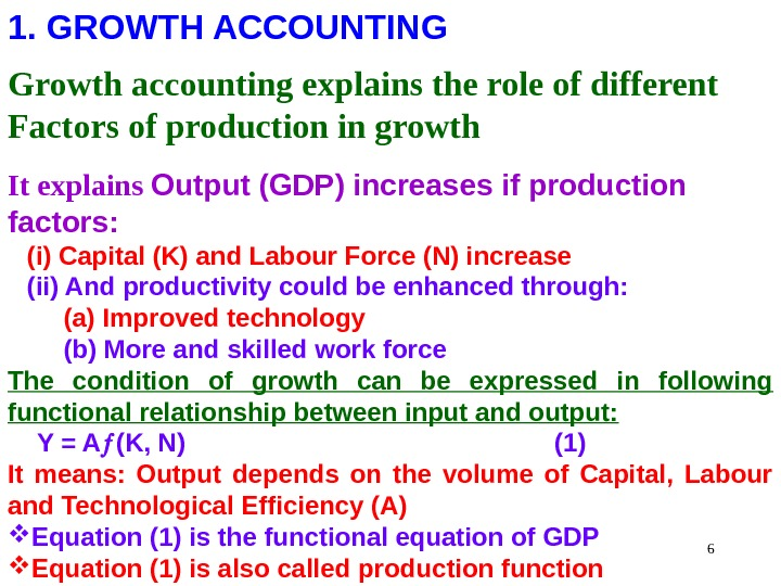 61. GROWTH ACCOUNTING Growth accounting explains the role of different Factors of production in growth It