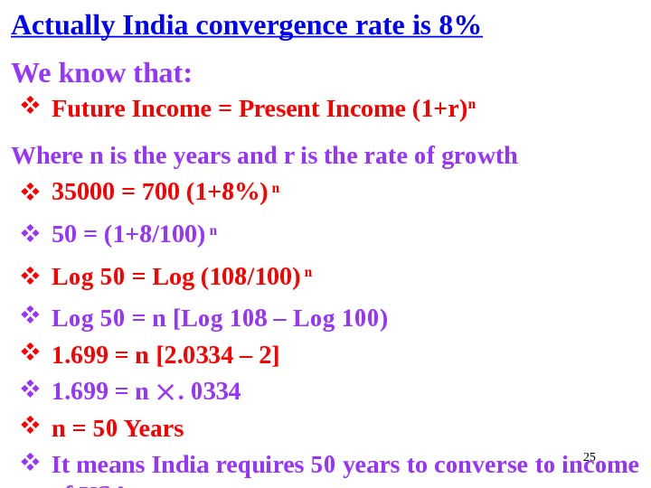 25 Actually India convergence rate is 8 We know that:  Future Income = Present Income