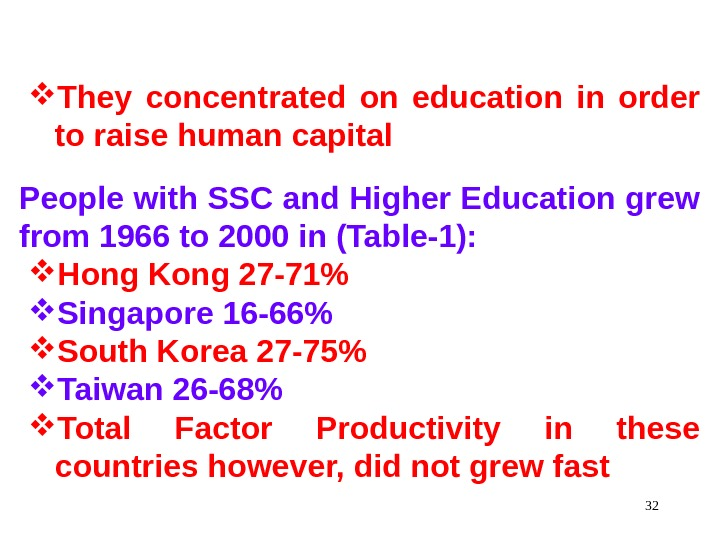 32 They concentrated on education in order to raise human capital People with SSC and Higher