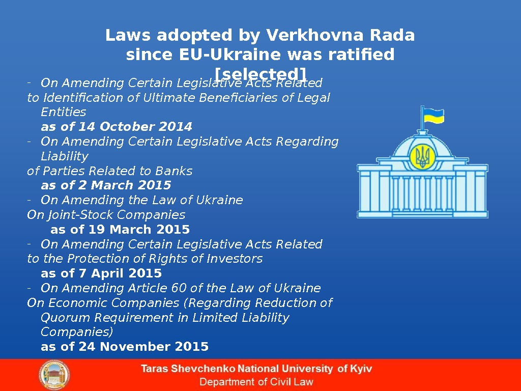 Laws adopted by Verkhovna Rada since EU-Ukraine was ratified [selected] - On Amending Certain Legislative Acts