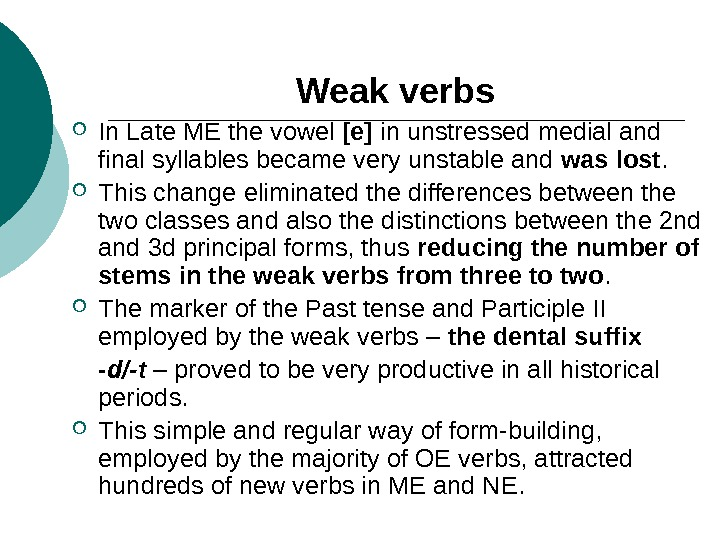 Weak verbs In Late ME the vowel [e] in unstressed medial and final syllables became very