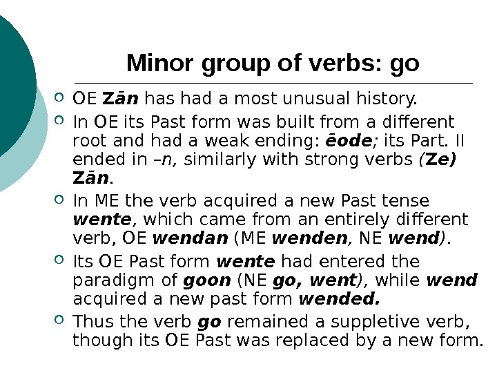 Minor group of verbs: go OE Z ān  has had a most unusual history.