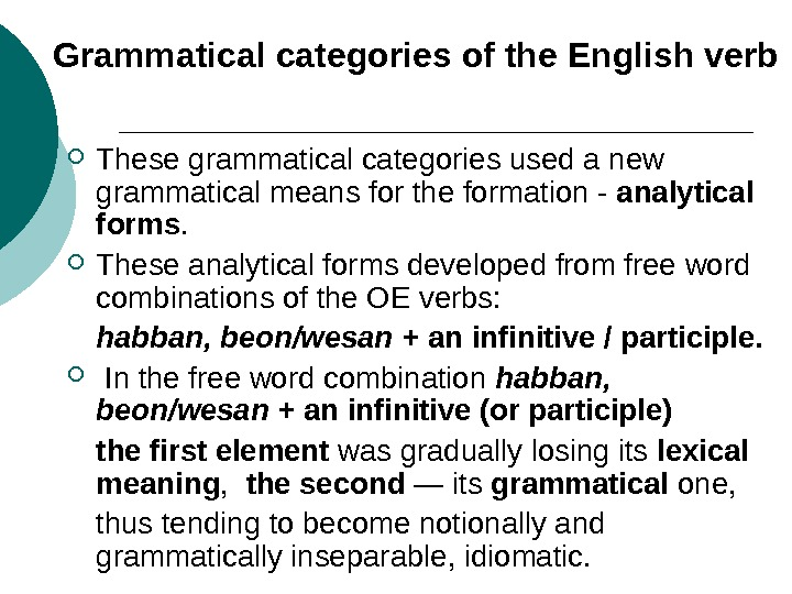 Grammatical categories of the English verb These grammatical categories used a new grammatical means for the
