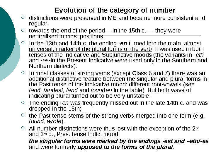 Evolution of the category of number distinctions were preserved in ME and became more consistent and