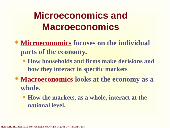Harcourt, Inc. items and derived items copyright © 2001 by Harcourt, Inc. Microeconomics and Macroeconomics Microeconomics