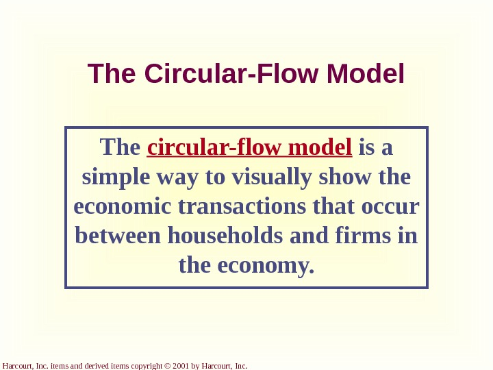 Harcourt, Inc. items and derived items copyright © 2001 by Harcourt, Inc. The Circular-Flow Model The