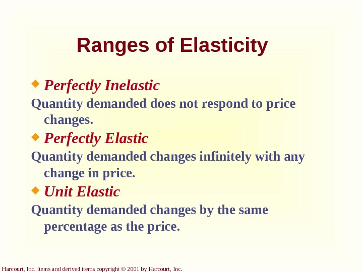 Harcourt, Inc. items and derived items copyright © 2001 by Harcourt, Inc. Ranges of Elasticity Perfectly