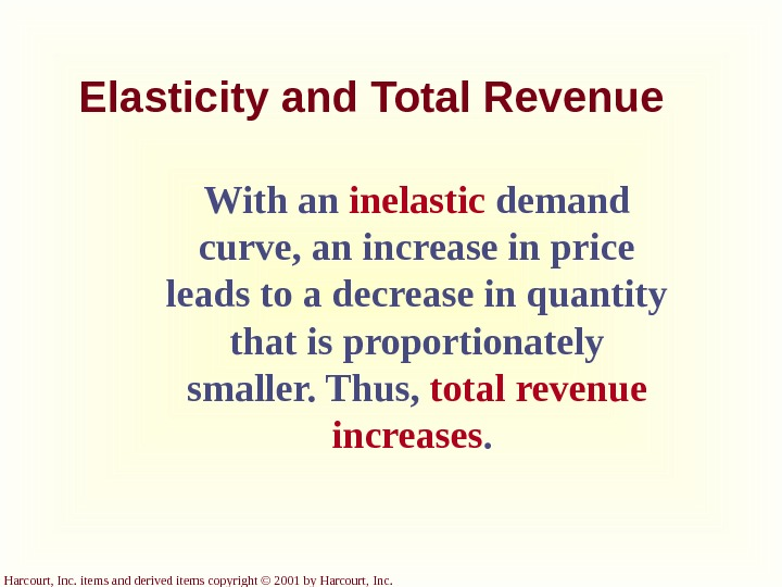 Harcourt, Inc. items and derived items copyright © 2001 by Harcourt, Inc. Elasticity and Total Revenue