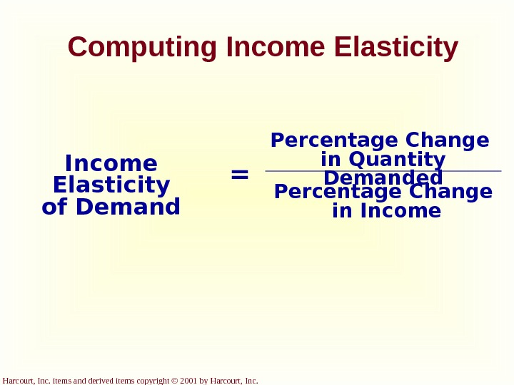 Harcourt, Inc. items and derived items copyright © 2001 by Harcourt, Inc.  Computing Income Elasticity