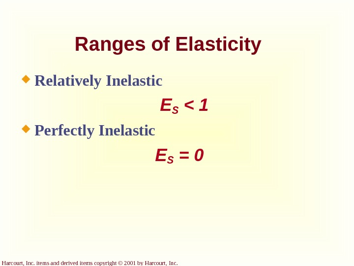 Harcourt, Inc. items and derived items copyright © 2001 by Harcourt, Inc. Ranges of Elasticity Relatively
