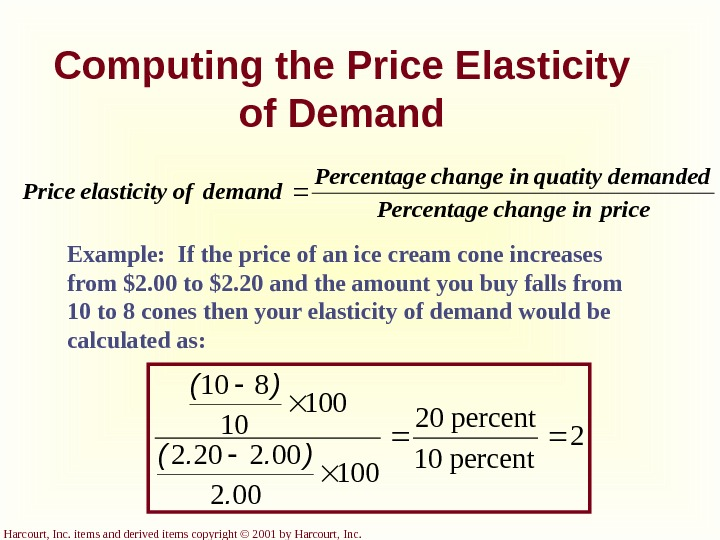 Harcourt, Inc. items and derived items copyright © 2001 by Harcourt, Inc. Computing the Price Elasticity
