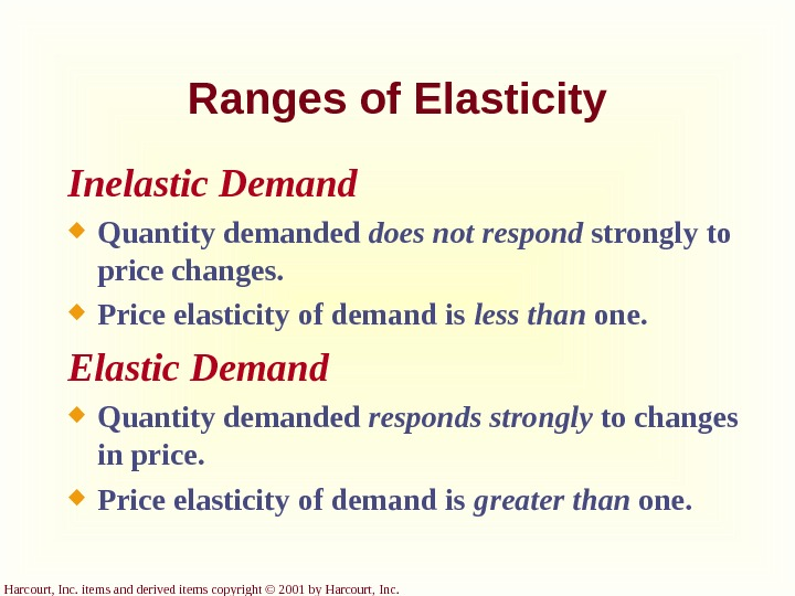 Harcourt, Inc. items and derived items copyright © 2001 by Harcourt, Inc. Ranges of Elasticity Inelastic