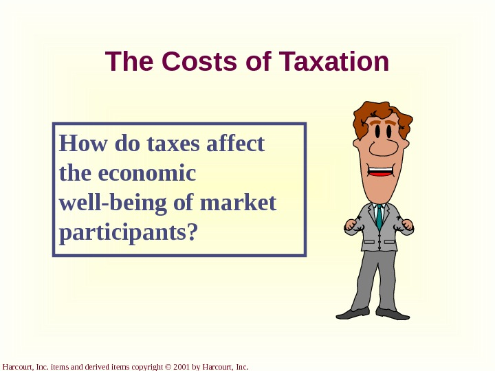 Harcourt, Inc. items and derived items copyright © 2001 by Harcourt, Inc. The Costs of Taxation