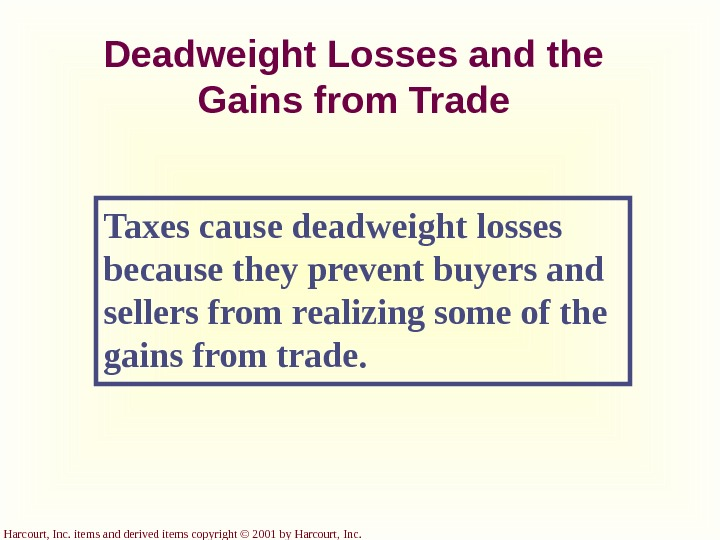 Harcourt, Inc. items and derived items copyright © 2001 by Harcourt, Inc. Deadweight Losses and the