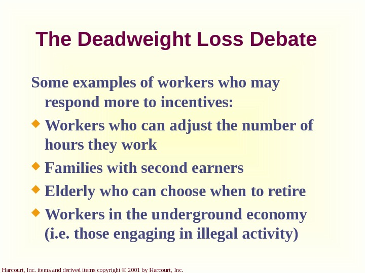 Harcourt, Inc. items and derived items copyright © 2001 by Harcourt, Inc. The Deadweight Loss Debate