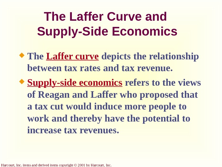Harcourt, Inc. items and derived items copyright © 2001 by Harcourt, Inc. The Laffer Curve and