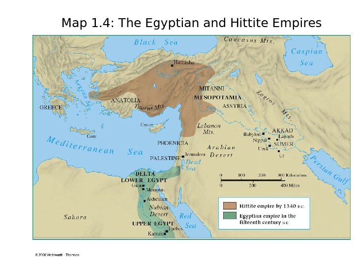 Map 1. 4: The Egyptian and Hittite Empires
