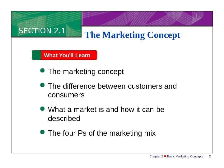 Chapter 2  Basic Marketing Concepts 2 SECTION 2. 1 What You'll Learn The marketing concept